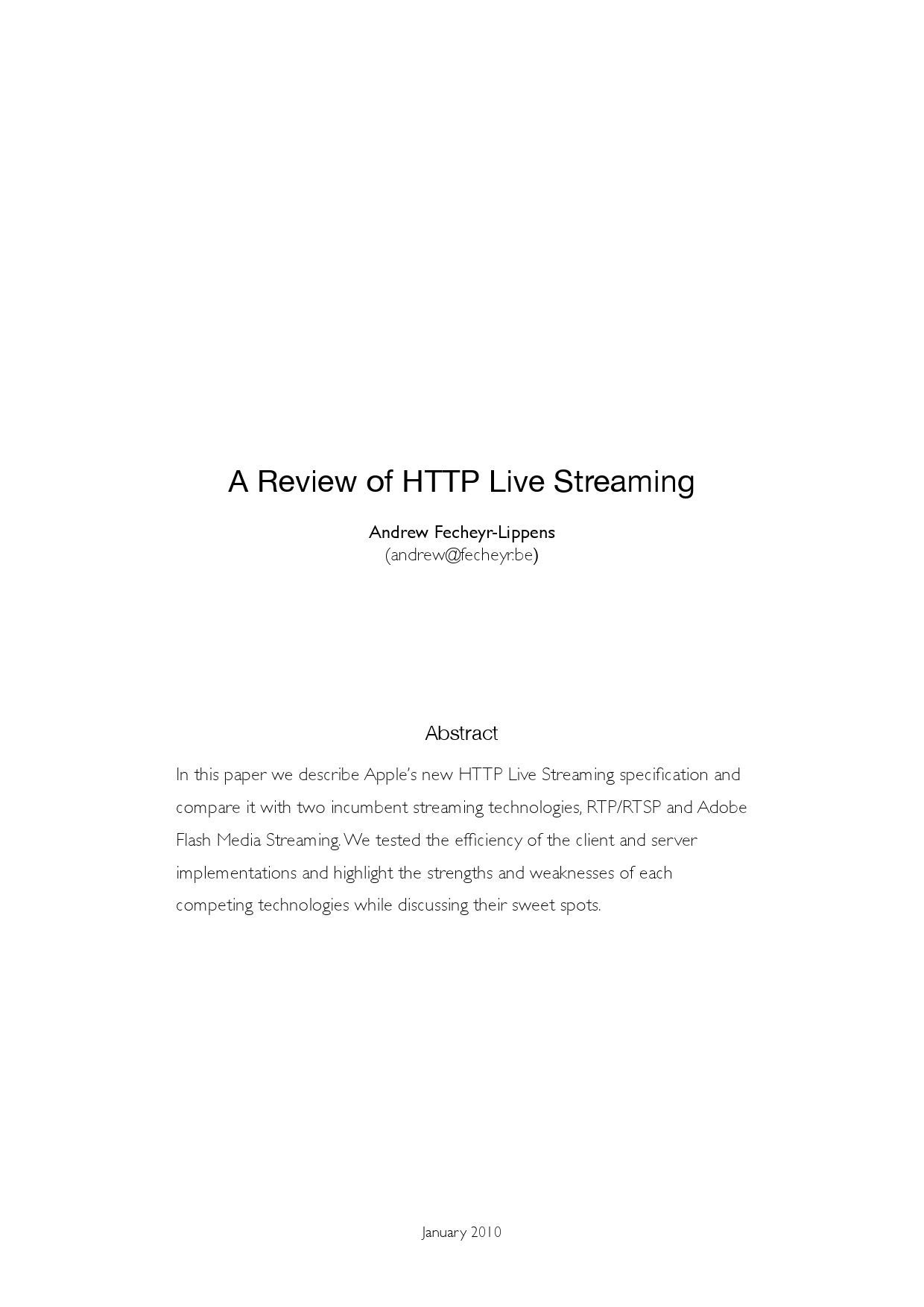 A Review of HTTP Live Streaming by Andrew Fecheyr - issuu