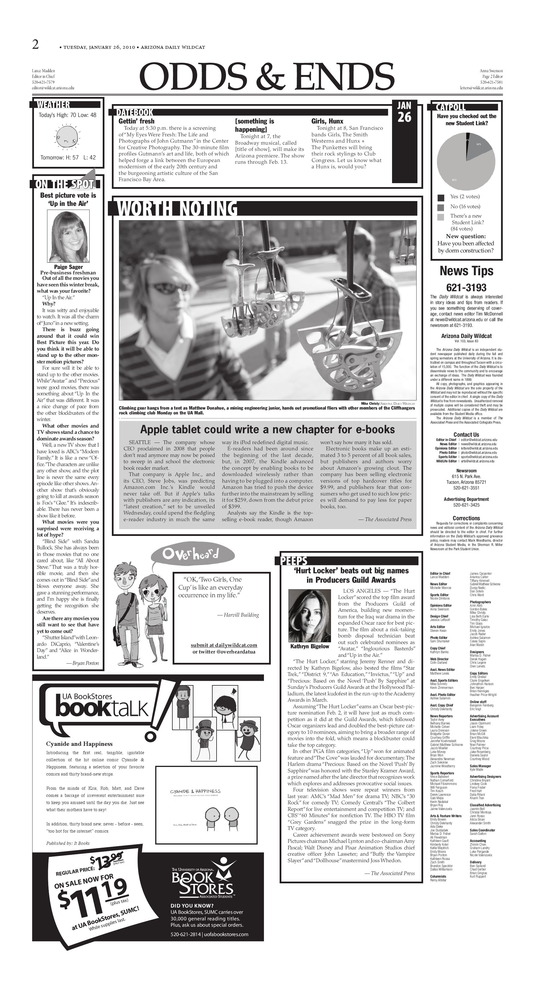 Arizona Daily Wildcat — Jan  26, 2010 by Arizona Daily