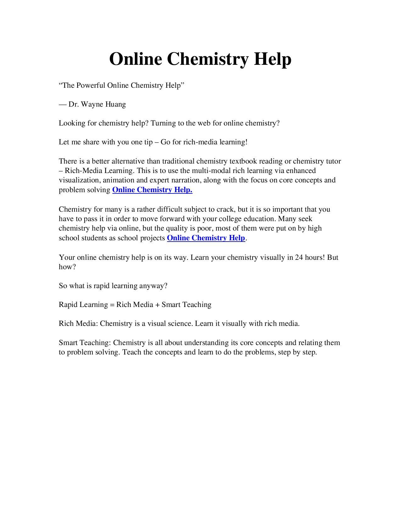 Online Chemistry Help By Michel Johnsi  Issuu