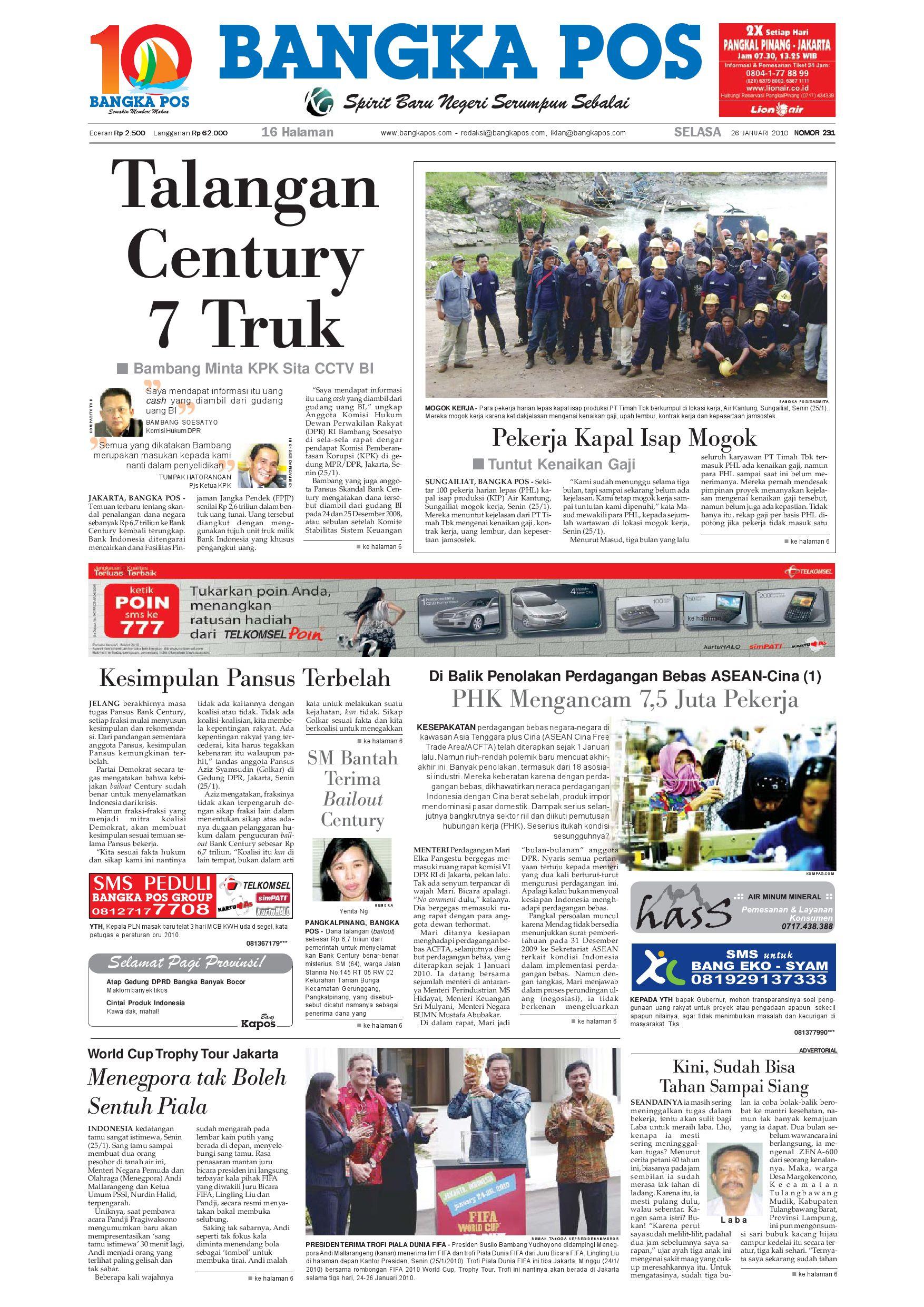 Harian Pagi Bangka Pos Edisi 26 Januari 2010 By Issuu Produk Ukm Bumn Jamu Kunyit Asam Seger Waras