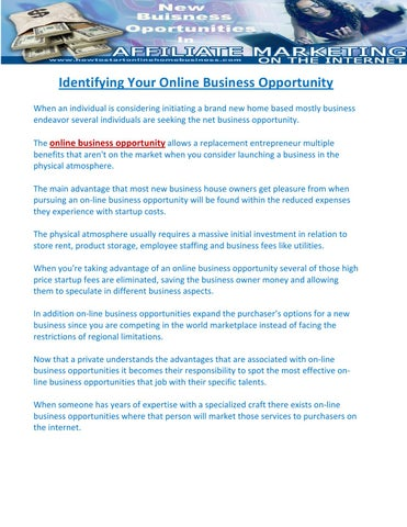 Identifying Your Online Business Opportunity by John Mailer