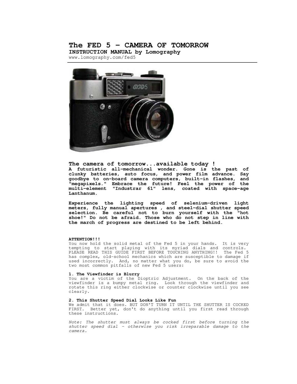 fed 5 manual by lomographic society international issuu rh issuu com Instruction Manual Manual Work