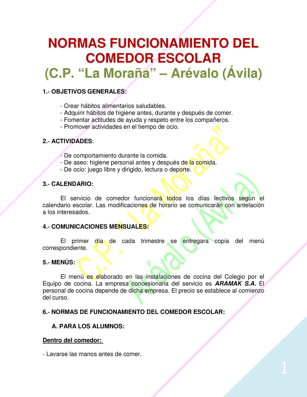 Normas del comedor by colegio p blico issuu for Normas para el comedor escolar