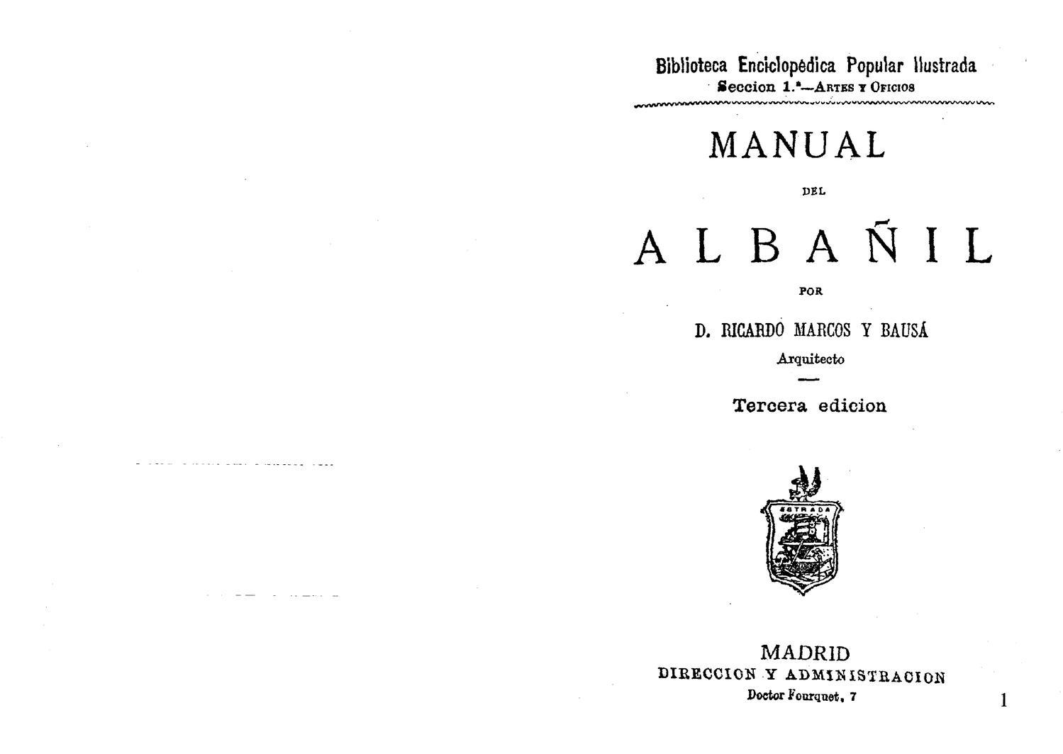 1879 - Manual del albañil (Ricardo Marcos y Bausa) by Arquitectura ...