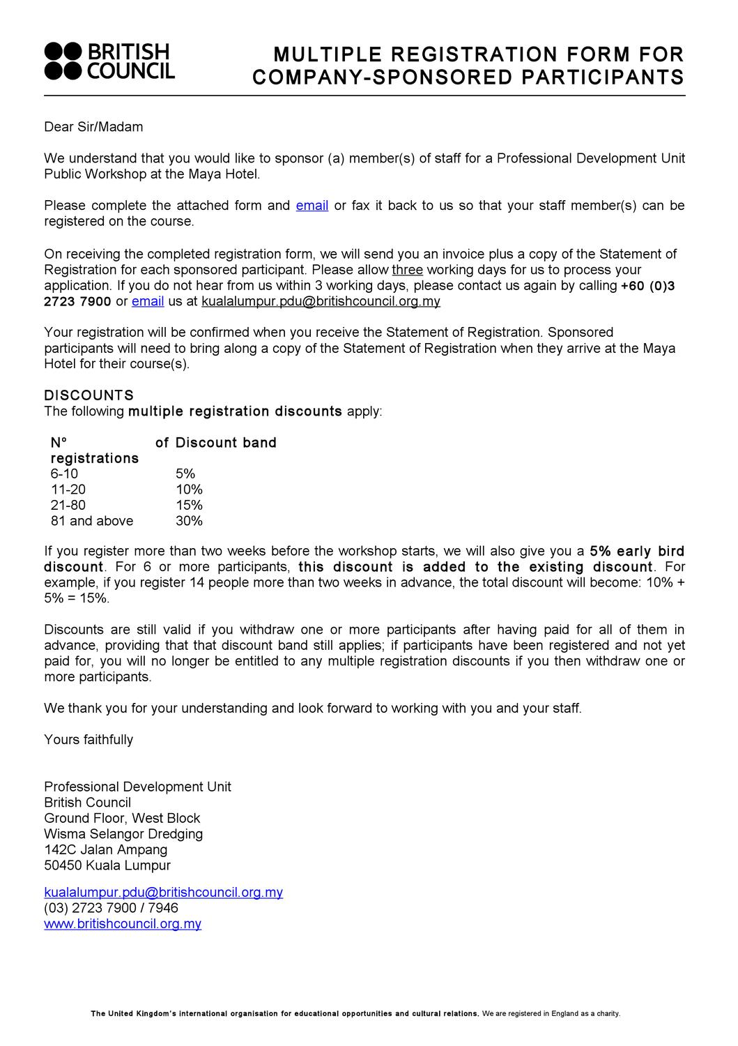 British Council Malaysia - Corporate Training - Registration Form ...