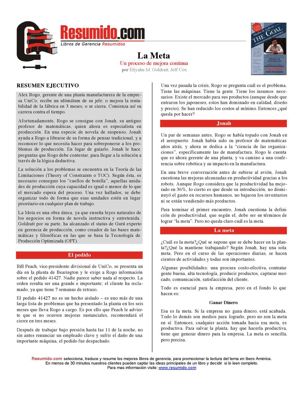 La Meta de Goldratt - Resumido by Andres Ubierna - issuu