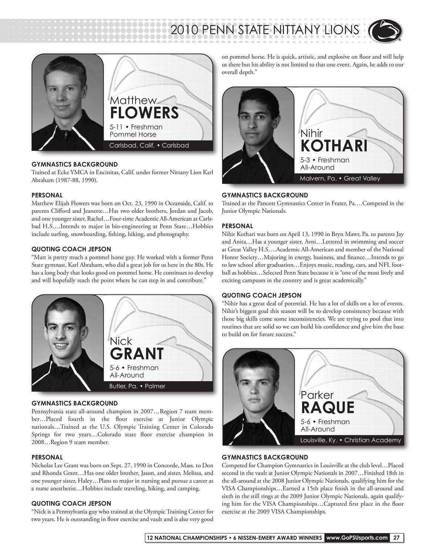 2009-10 Penn State Men's Gymnastics Media Guide by Penn