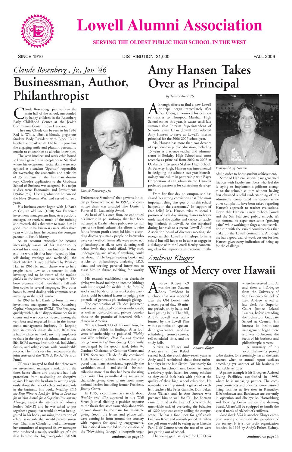 Lowell Alumni Newsletter Fall 2006