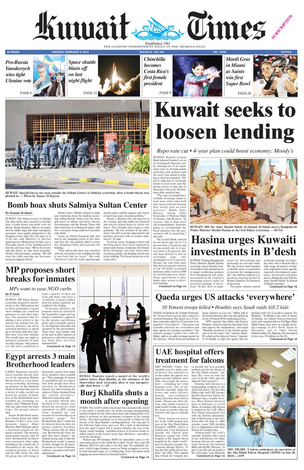 9th Feb by Kuwait Times - issuu