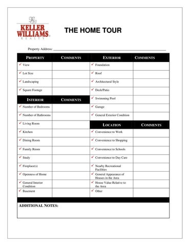 Home tour checklist by betty anne burns issuu for New home selections checklist