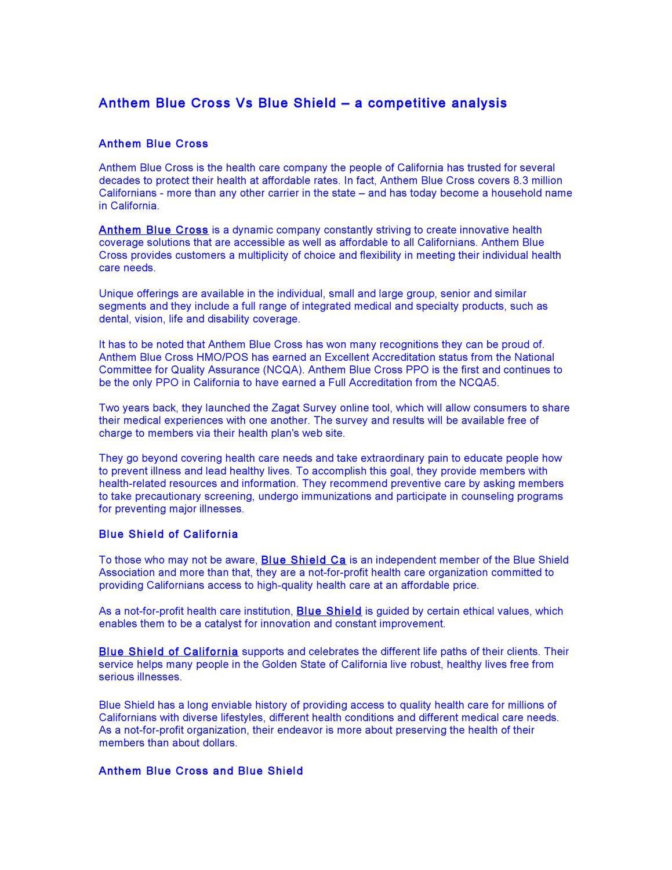 Anthem Blue Cross Vs Blue Shield - a competitive analysis ...