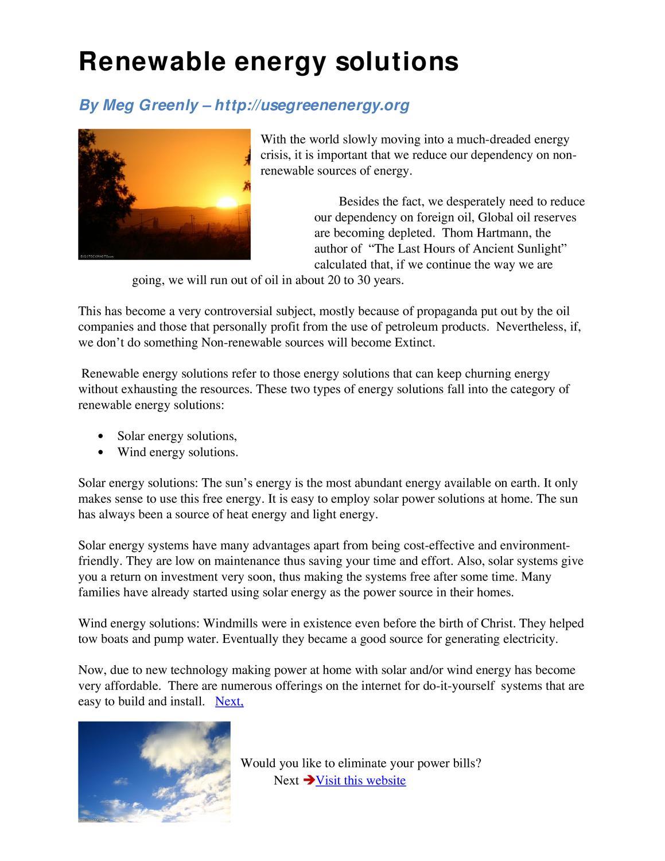 Renewable energy solutions by meg Greenley - issuu