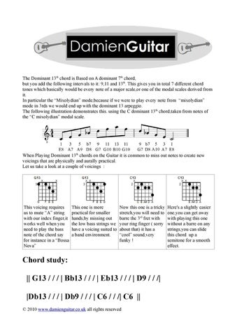 Guitar Lesson Dominant 13th Chords By Damien Redmond Issuu
