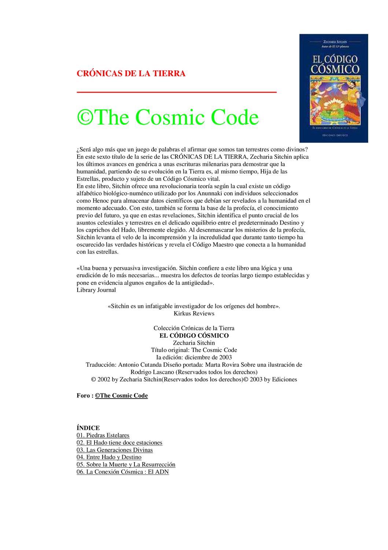 Zecharia Sitchin - crónicas de la tierra 2 - el código cósmico by ...