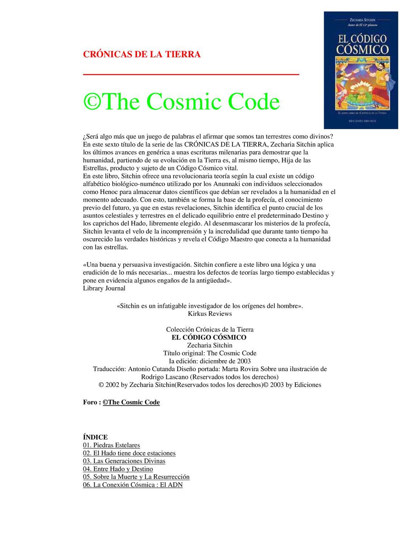 Zecharia Sitchin - crónicas de la tierra 6 - codigos cosmicos by ...