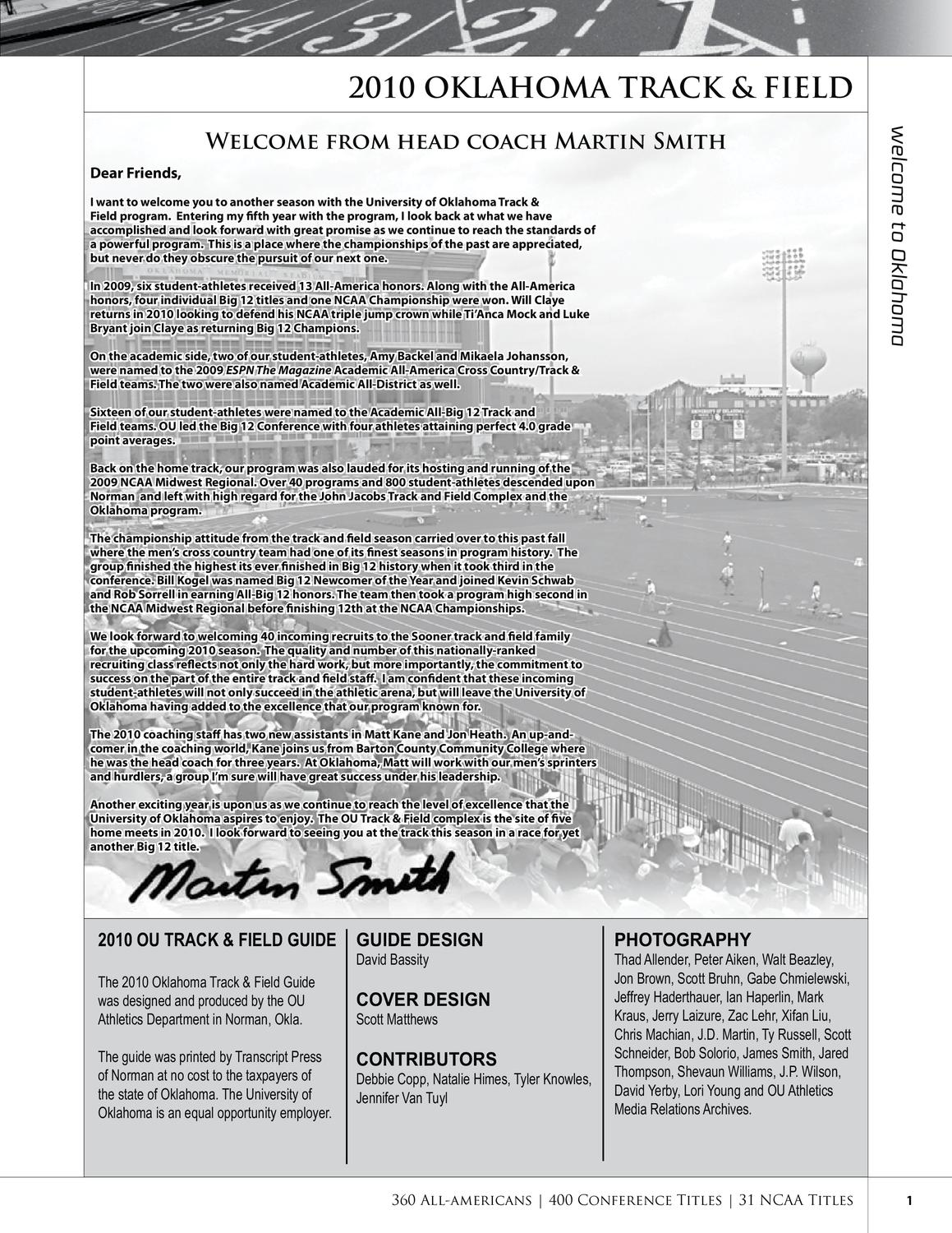 ea5c9847c 2010 OU Track & Field Guide by OU Athletics - issuu