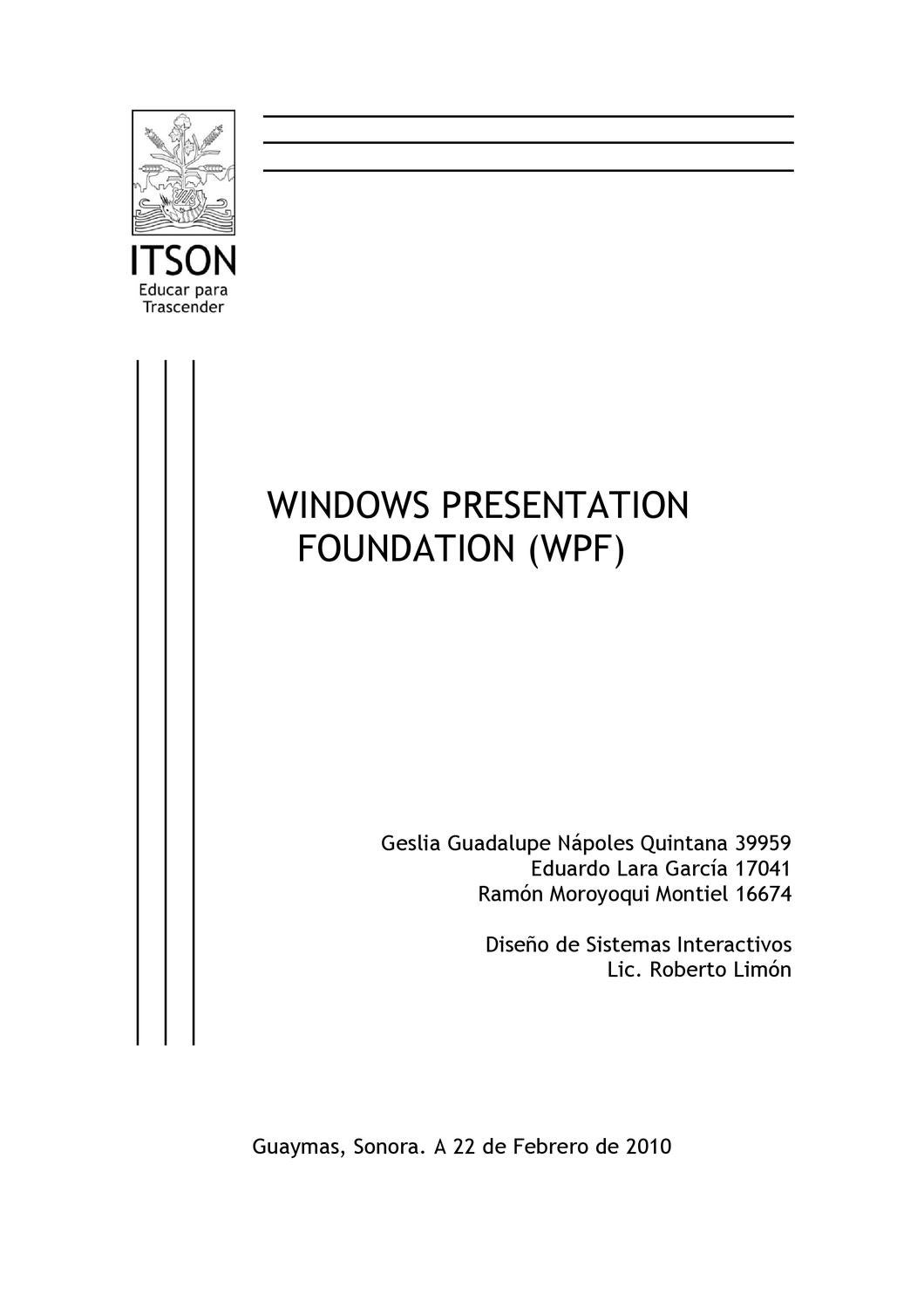 Windows Presentation Foundation by Eduardo Lara - issuu