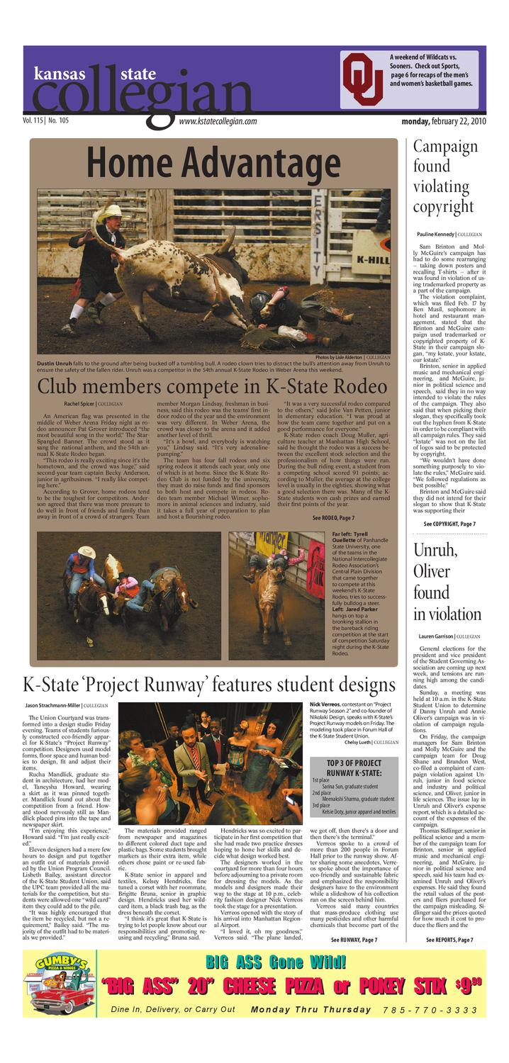 K State Collegian Print Edition 2 22 10 By Kansas State