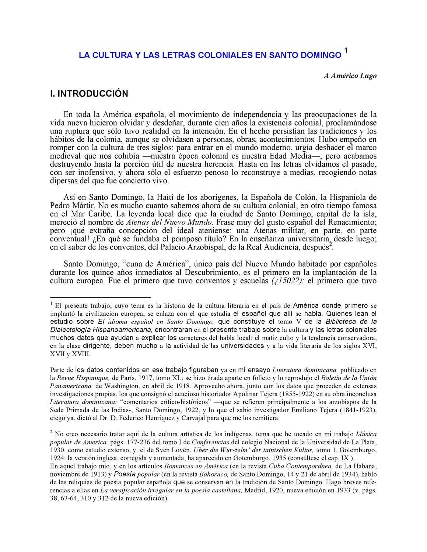 LA CULTURA Y LAS LETRAS COLONIALES EN SANTO DOMINGO by ANGEL C - issuu