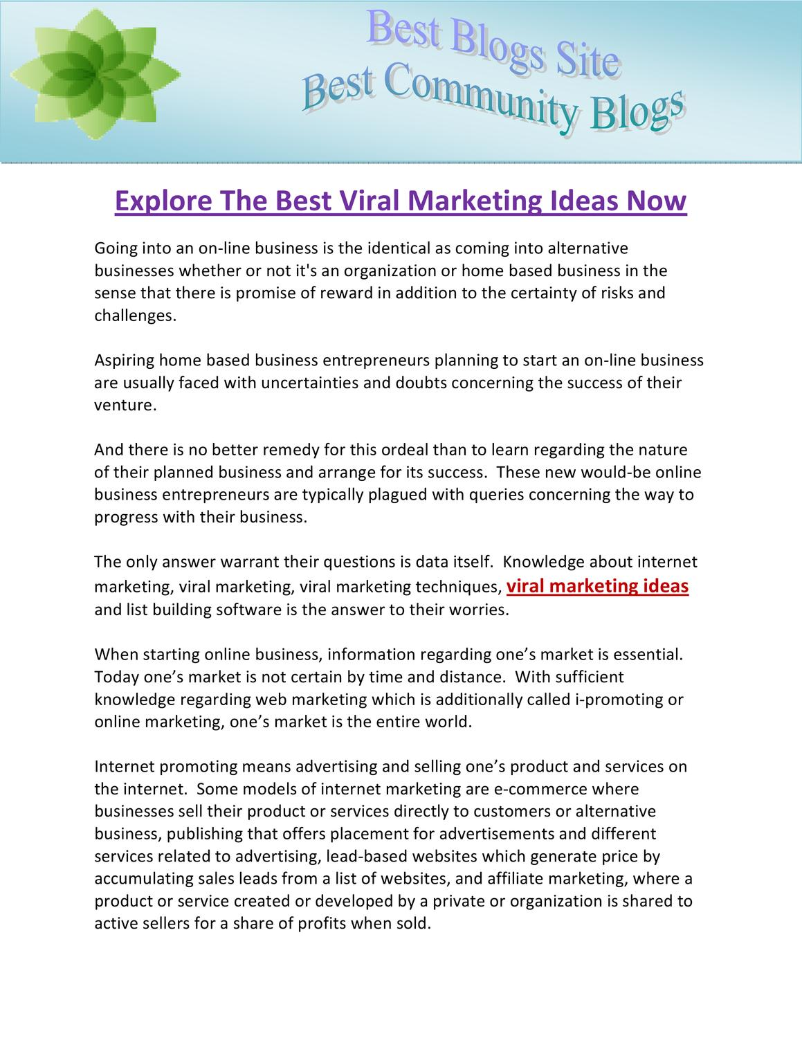 Explore The Best Viral Marketing Ideas Now by Bob Collins Brittany ...