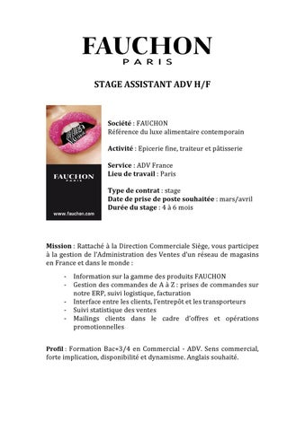 Stae Assistant Adv Fauchon By Alison Galtier Issuu