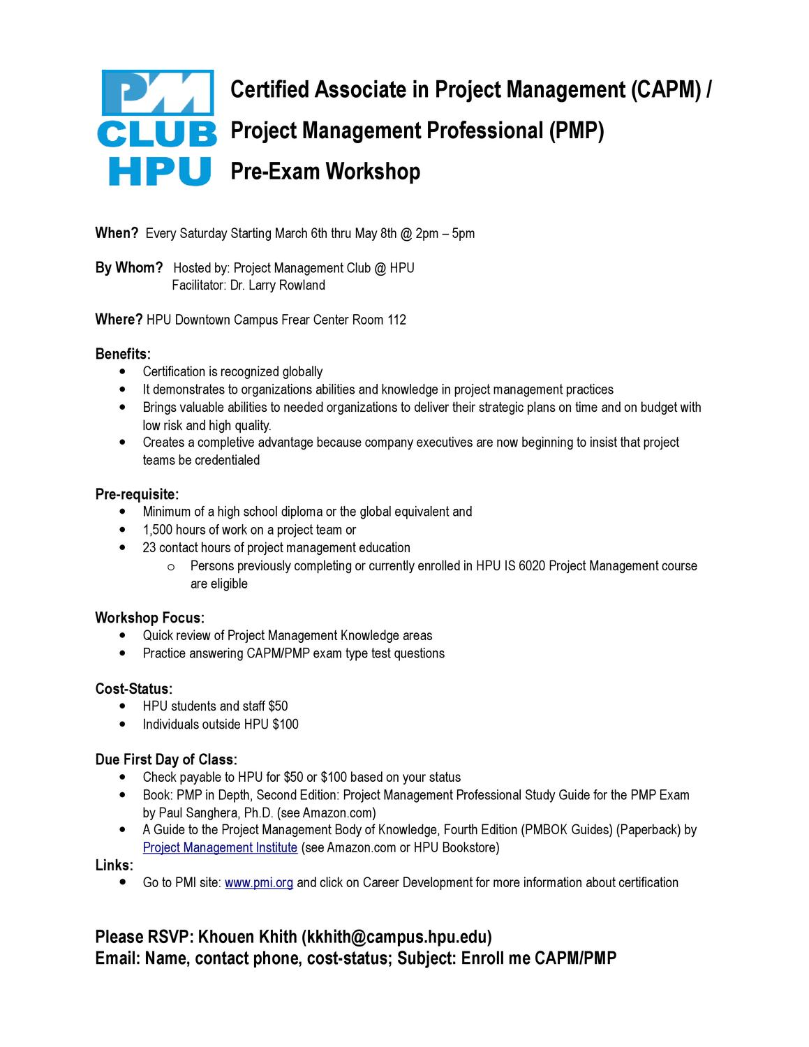 Capmpmp Workshop Flyer By Pmclub Hpu Issuu