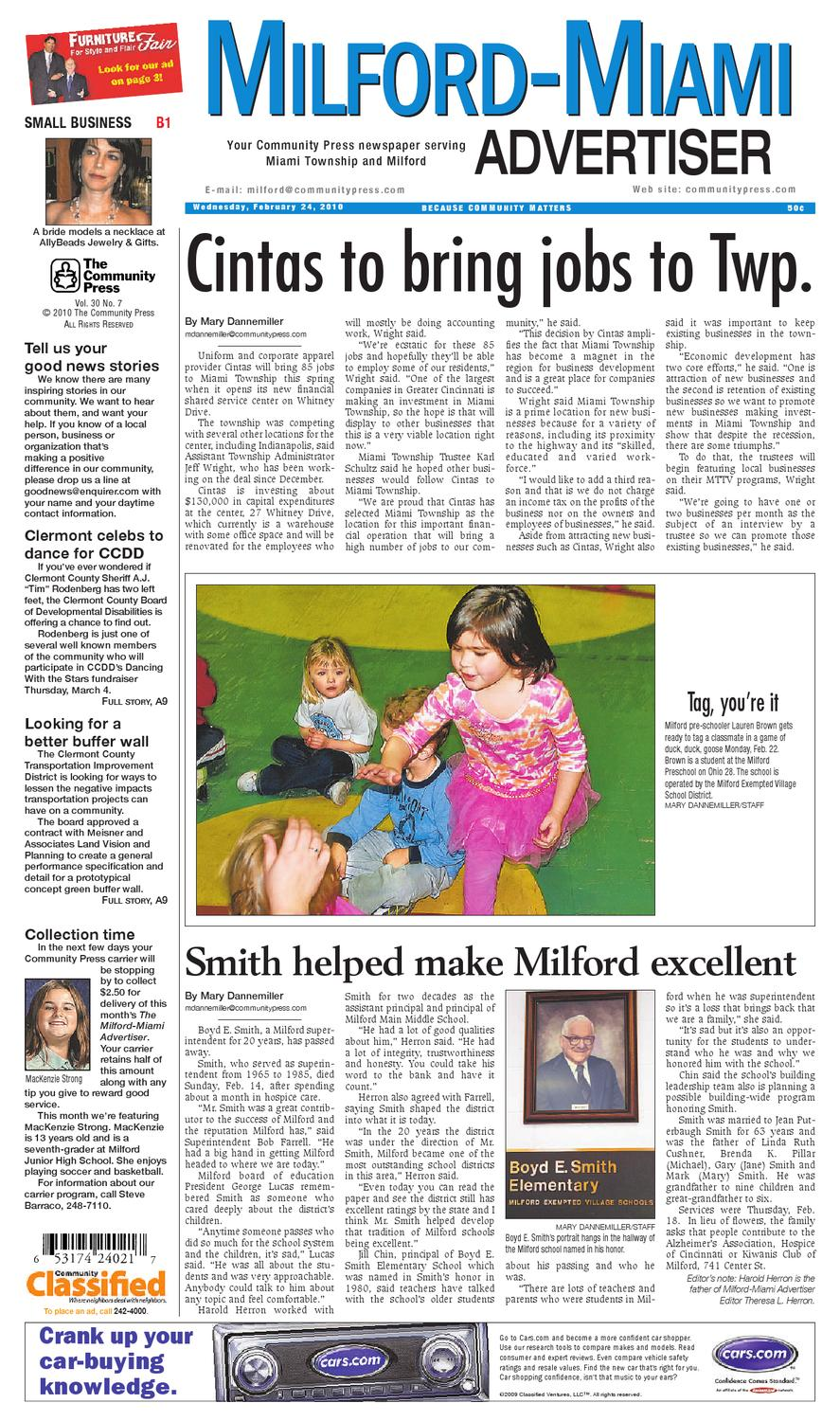 Milford Miami Advertiser 022410 By Enquirer Media Issuu Underground Feeder Cable Timothy Thiele