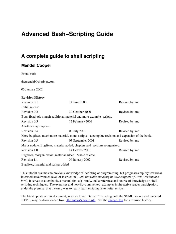 Advanced bash scripting guide by Luciano Assirelli - issuu