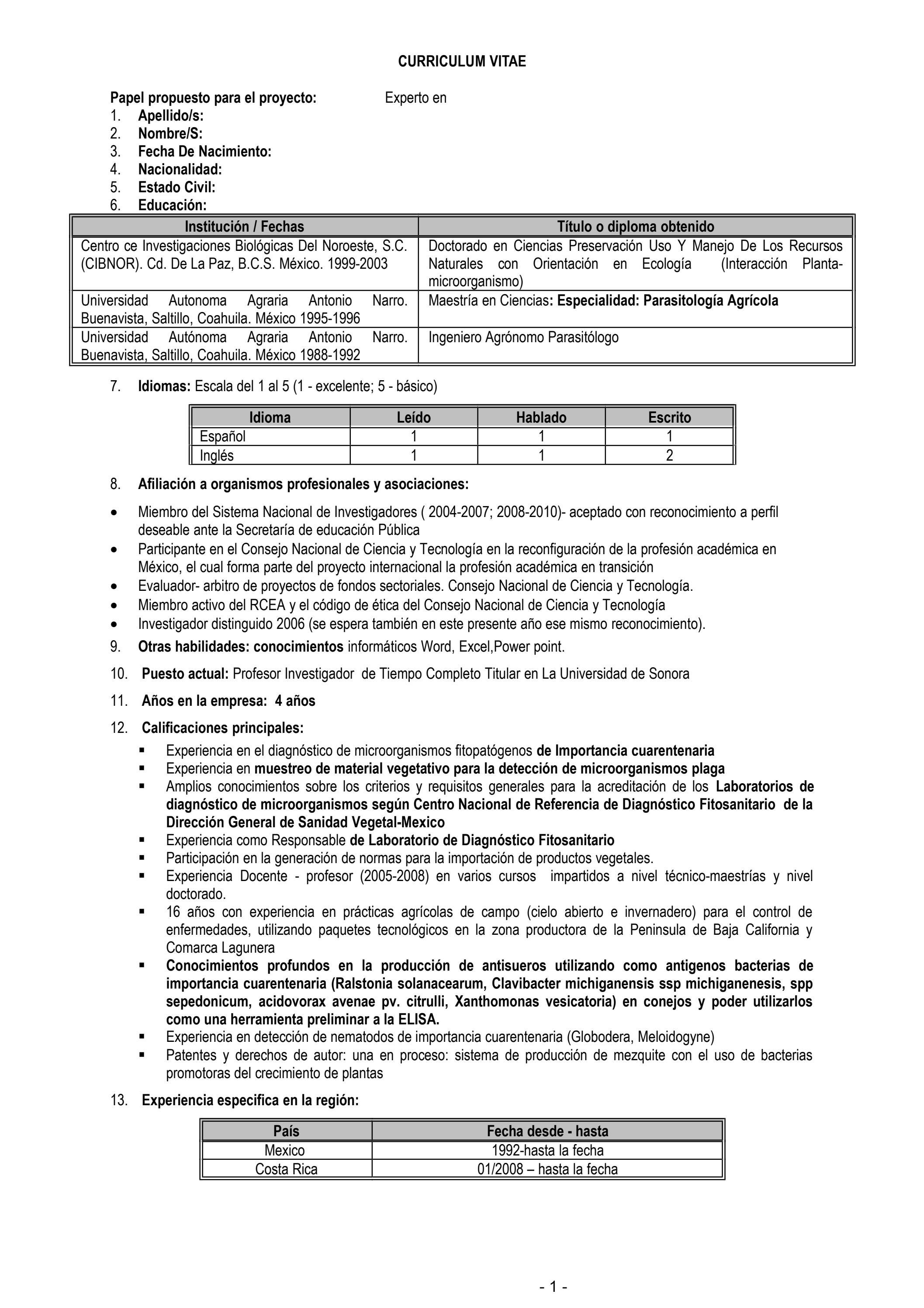 EJEMPLO FORMULARIO CV FORMATO UE by Programa de Apoyo a la Seguridad ...
