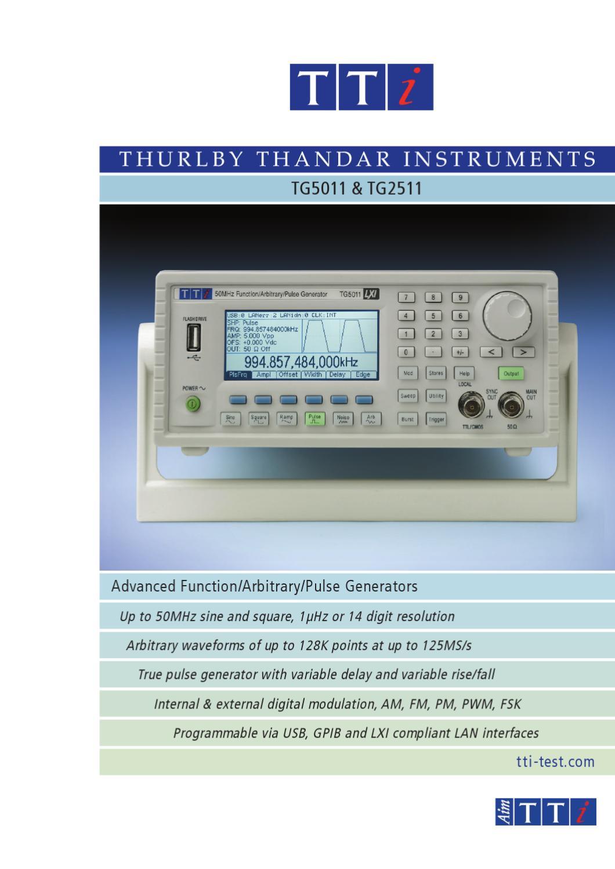 Aim Tti Tg5011 Tg2511 Function Generators Datasheet By Issuu Programmable Levels High Speed Pulse Generator
