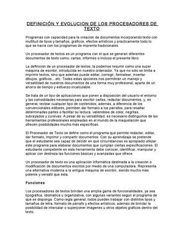 Informacion Procesador De Texto By Esau Villalobos Herrera Issuu