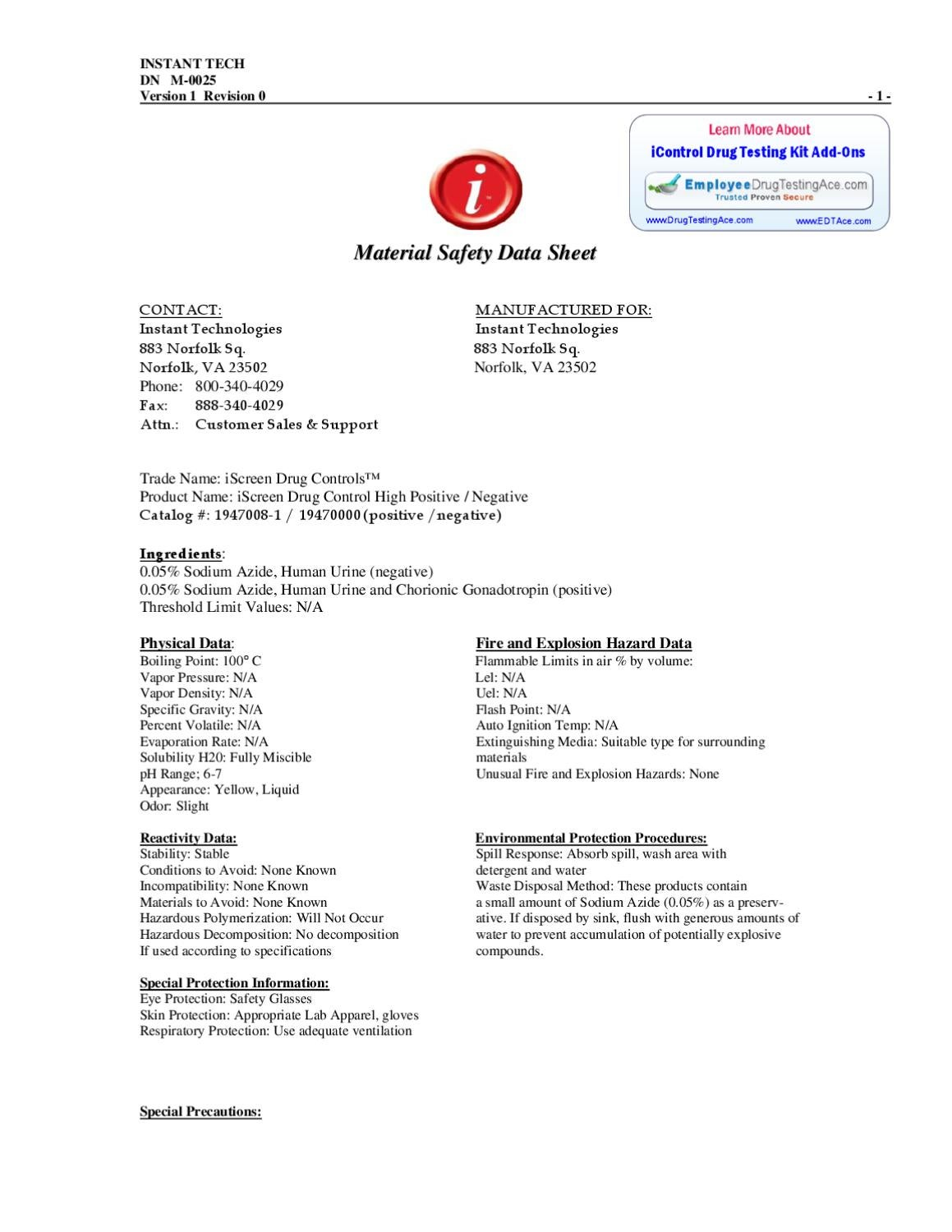 iControls Material Safety Data Sheet (MSDS) Employment Drug
