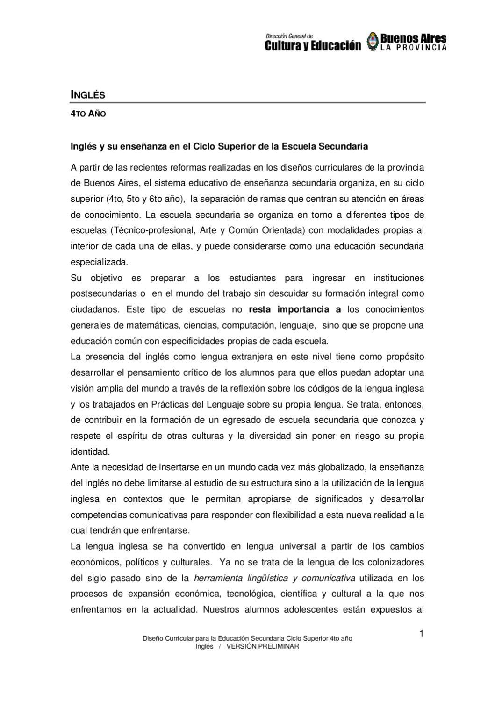 Diseño Curricular Inglés 4 Sec Ciclo Sup By M9calzada