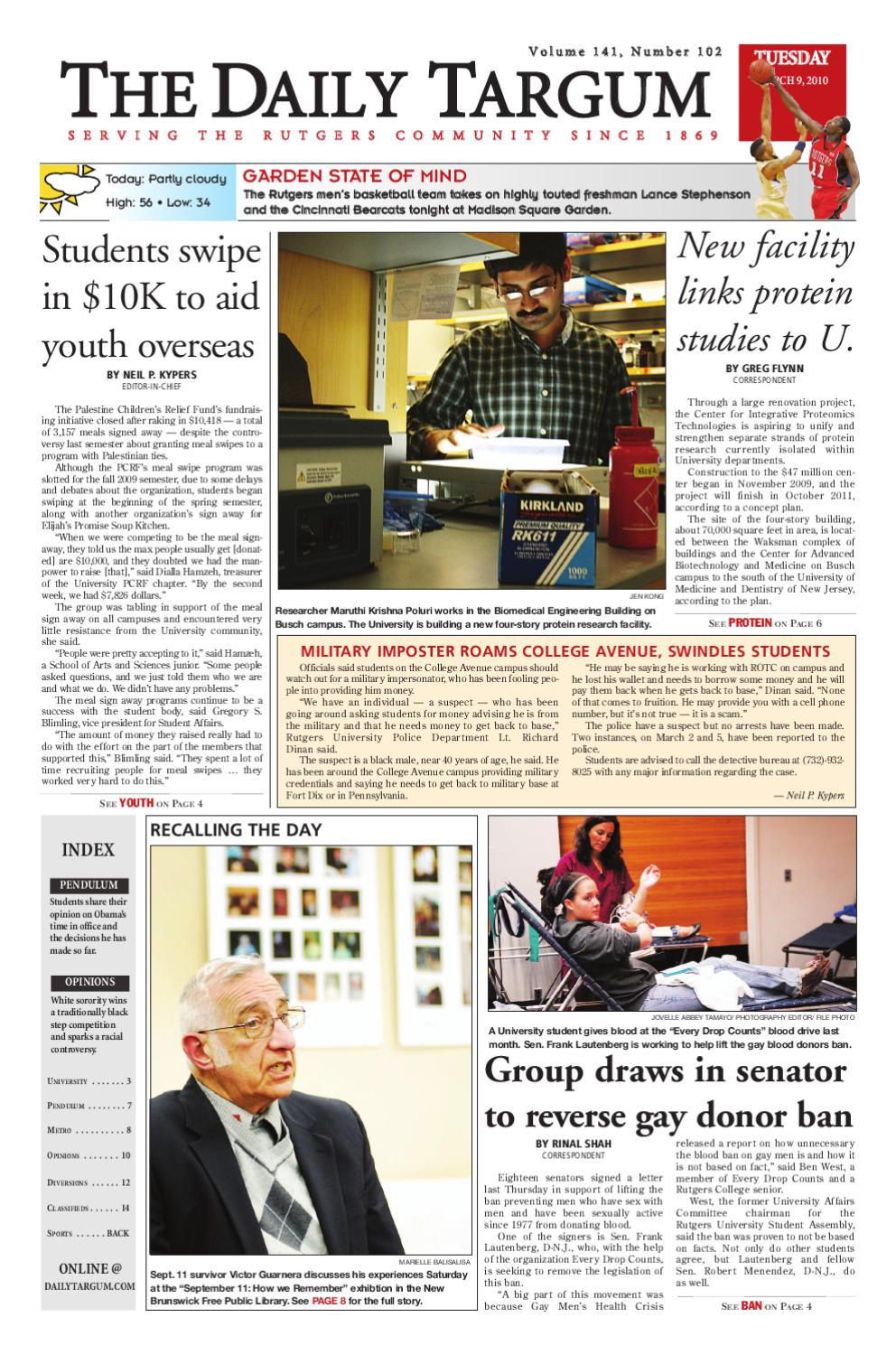 5512bc81a24 The Daily Targum 2010-03-09 by The Daily Targum - issuu