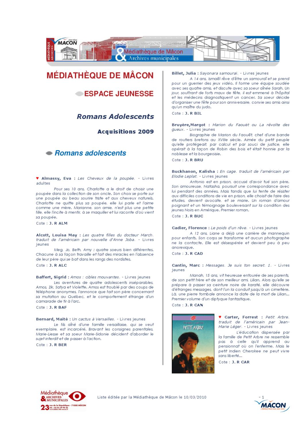 Romans Pour Les Adolescents By Mediatheque De Macon Issuu