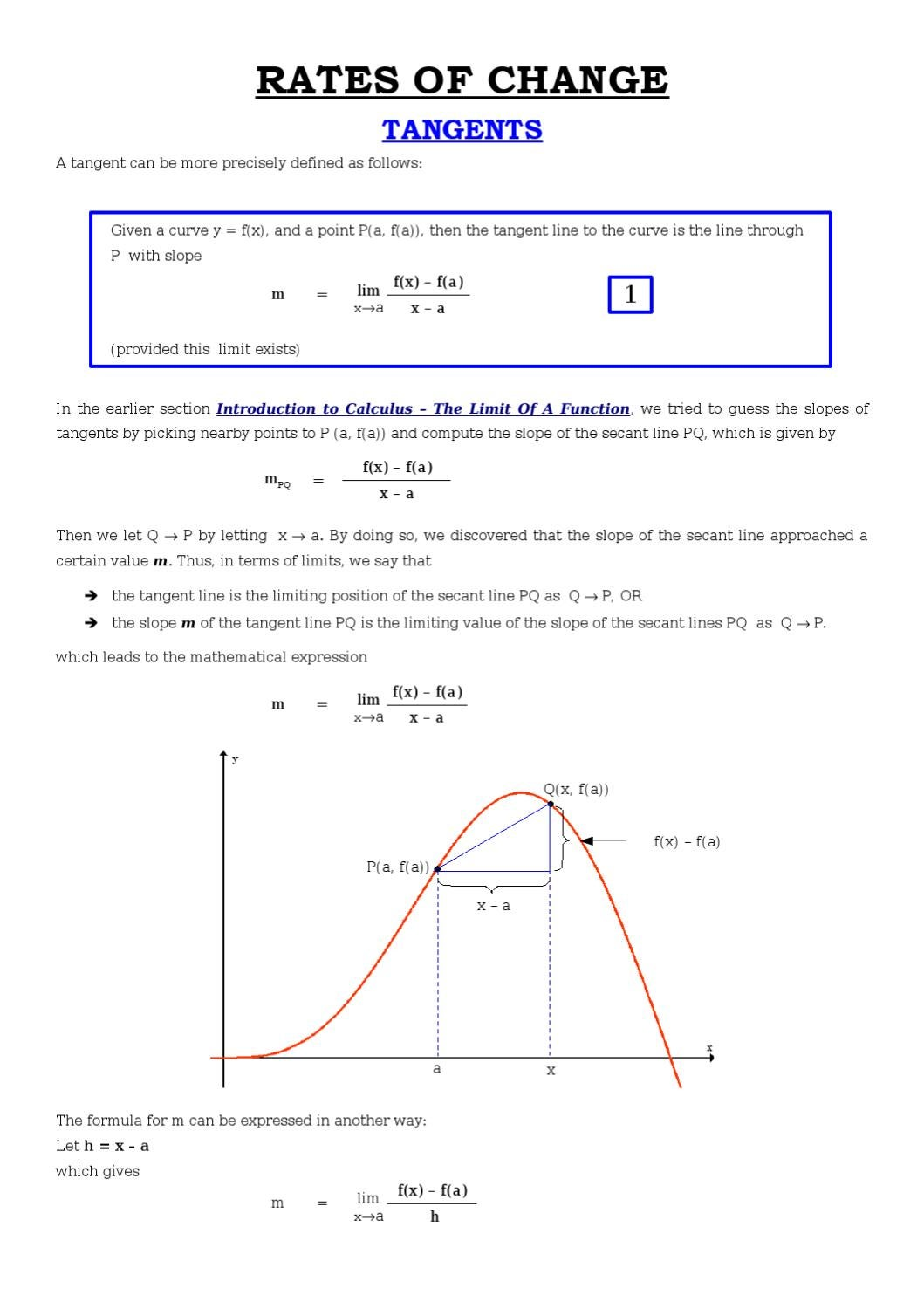 how to find the slope of a tangent