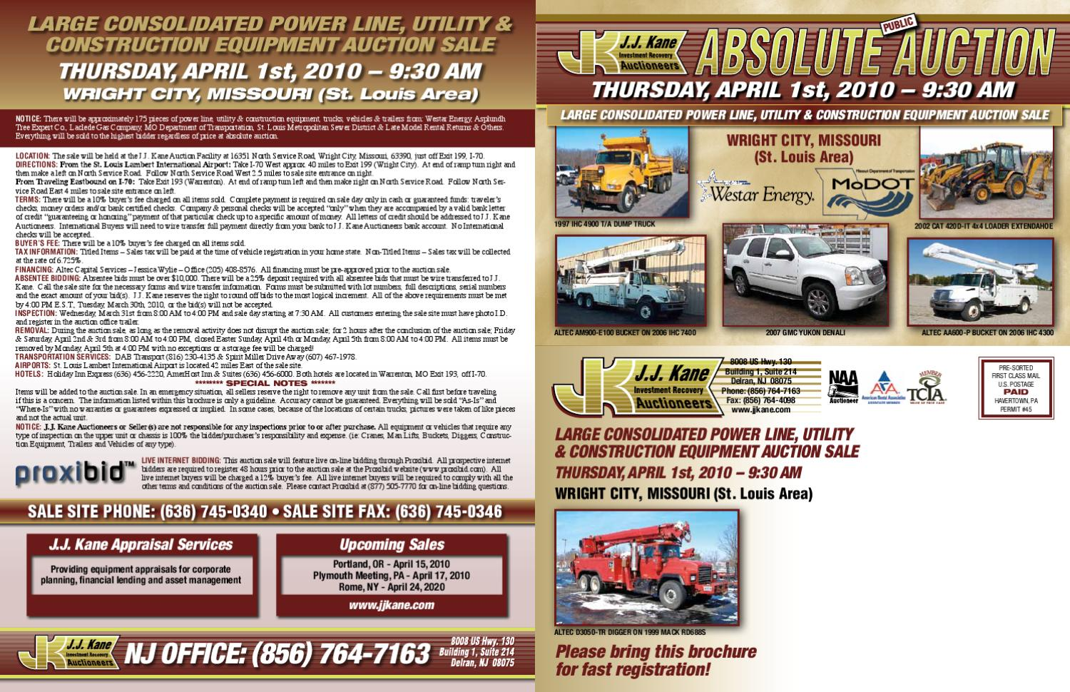 Equipment Auction | Wright City, MO | J J  Kane Auctioneers