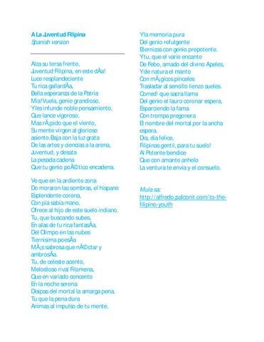 a la juventud filipina Ang tulang ito ay ginawa ni rizal noong 1879 sa gulang na 18 taon, para sa isang contest na ginanap ng liceo artistico-literario na impress ang mga espanyol na hurado sa kanyang nagawa kung kaya't nanalo siya ng first prize.