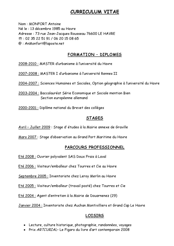 curriculum vitae by raoul beauregard