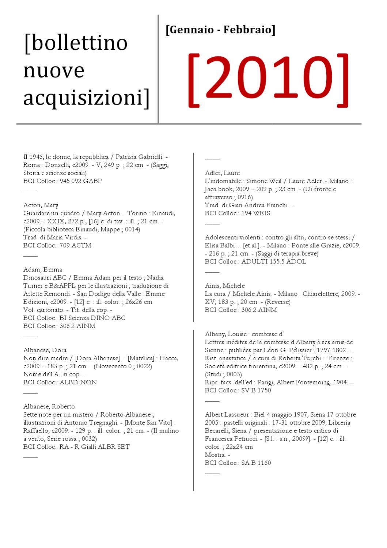 Bollettino nuove acquisizioni gen-feb 2010 by Biblioteca comunale degli  Intronati Siena - issuu 5a39342f454