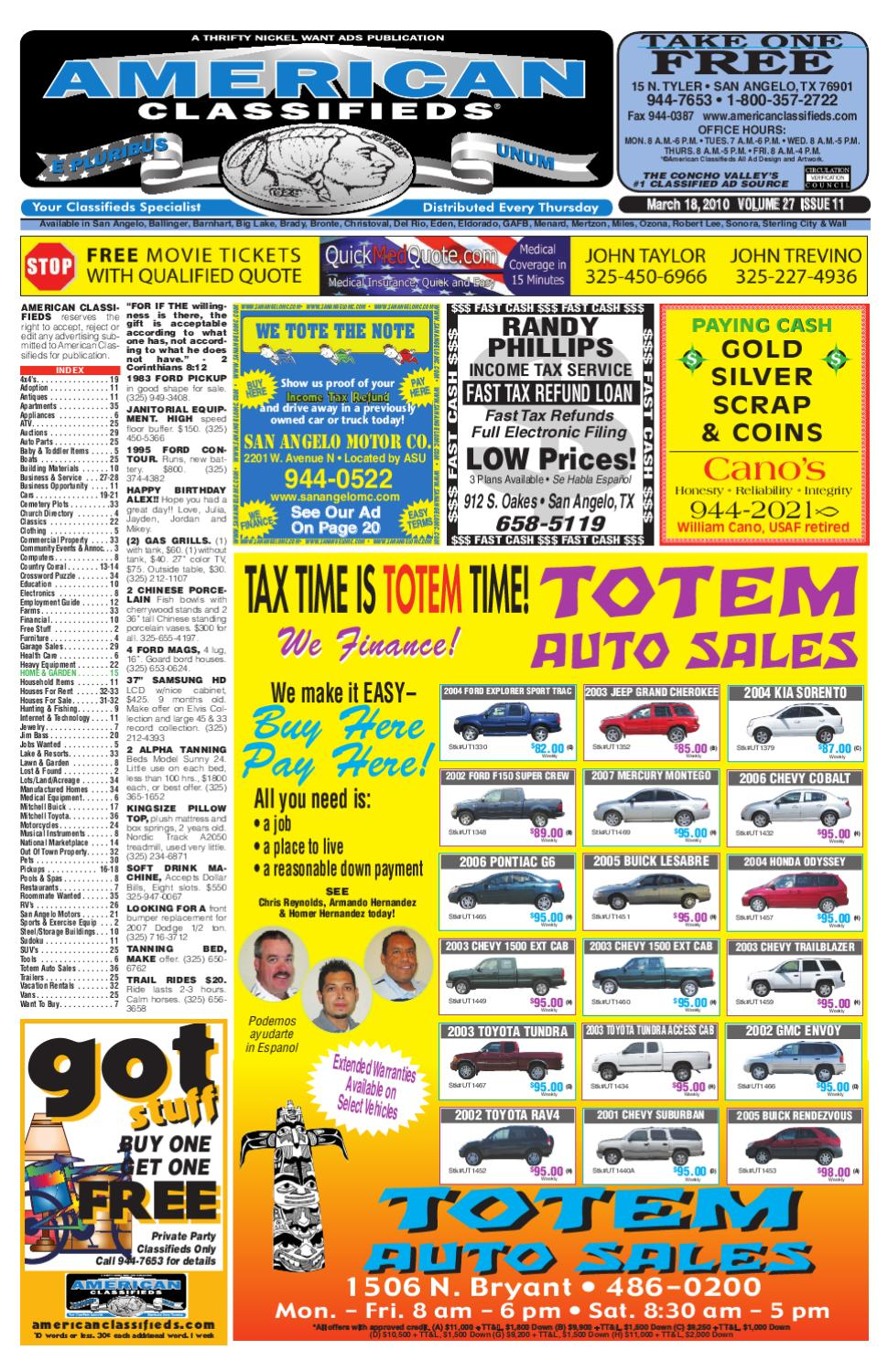 San angelo american classifieds by san angelo american for Fast cash motors tyler tx