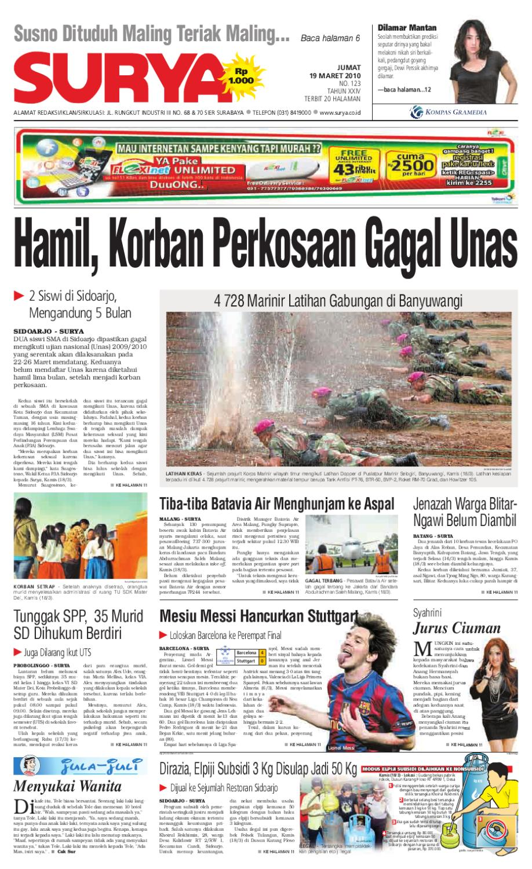 Surya Edisi Cetak 19 Maret 2010 By Harian Surya Issuu