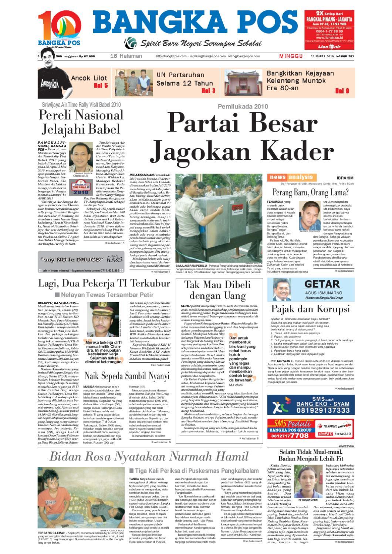 Harian Pagi Bangka Pos Edisi 21 Maret 2010 By Issuu Tcash Vaganza 28 Sambal Bawang Bu Rudy Khas Surabaya