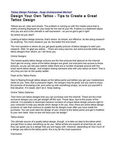 Design Your Own Tattoo - Tips to Create a Great Tattoo Design by ...