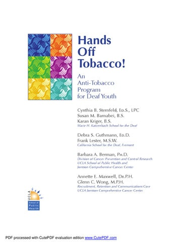 Hands Off Tobacco: 10th Grade Curriculum by Heather Holmes