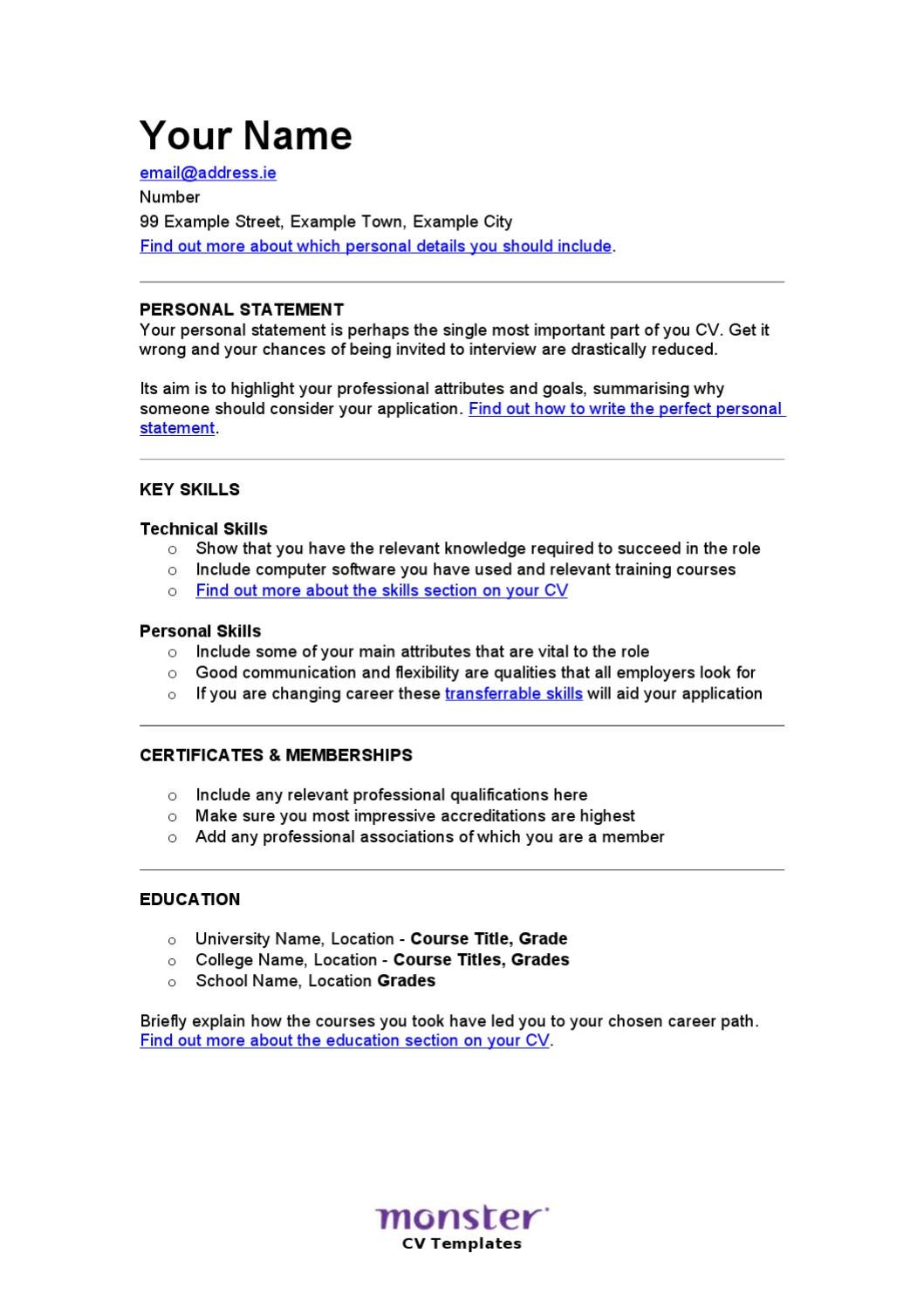 the classic skill based cv by monster worldwide cz sro issuu - Skills On Your Cv
