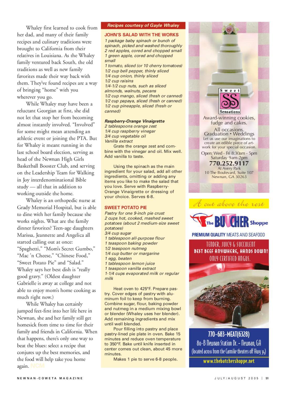 Newnan-Coweta Magazine, July/August 2005 by Deberah Williams