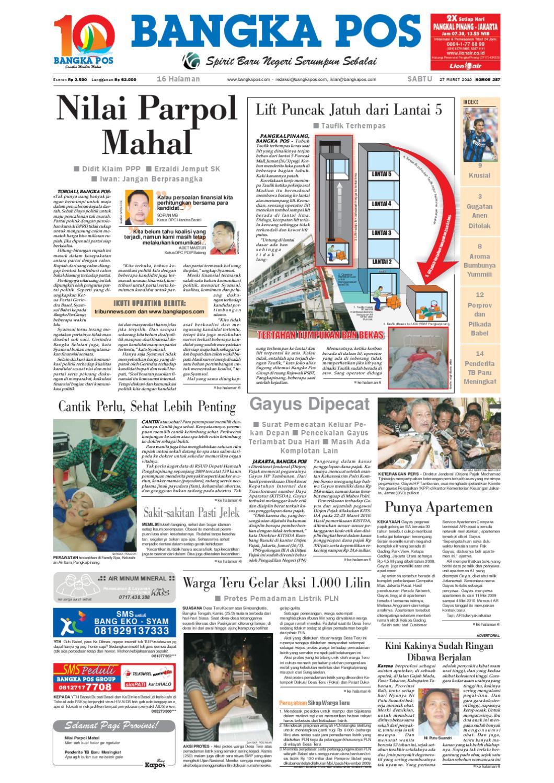 Harian Pagi Bangka Pos Edisi 27 Maret 2010 By Bangka Pos Issuu