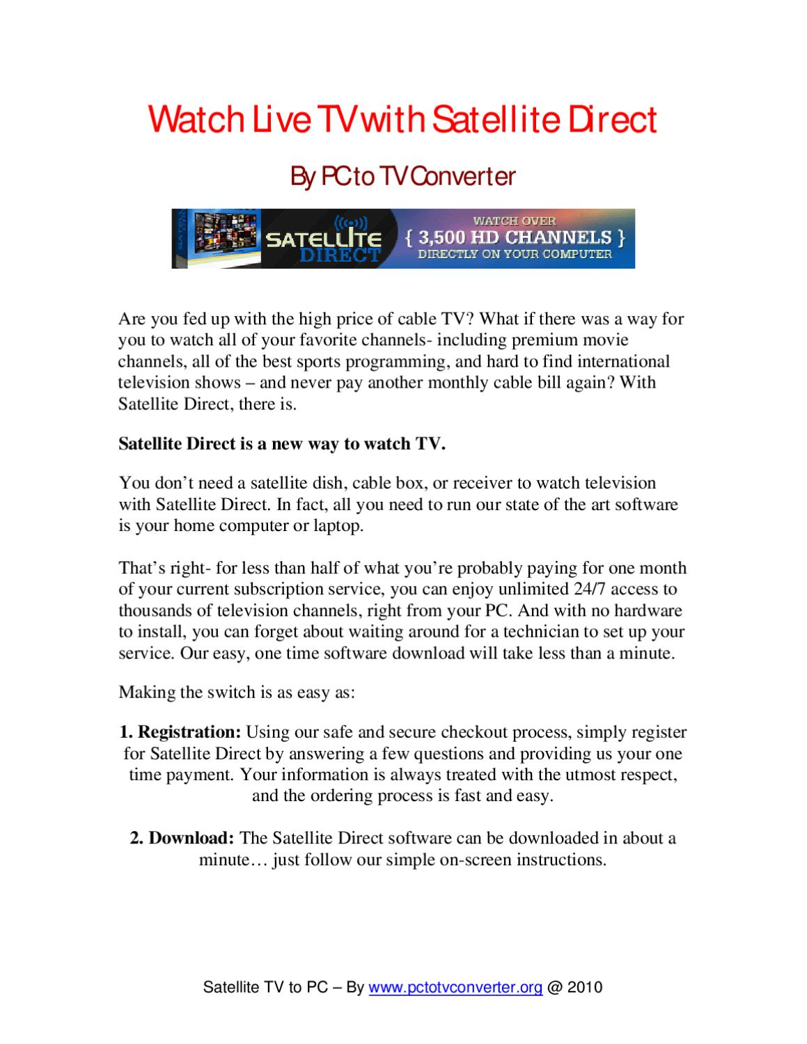 Easiest Way To Watch Satellite TV to PC by Sue Lemieux - issuu