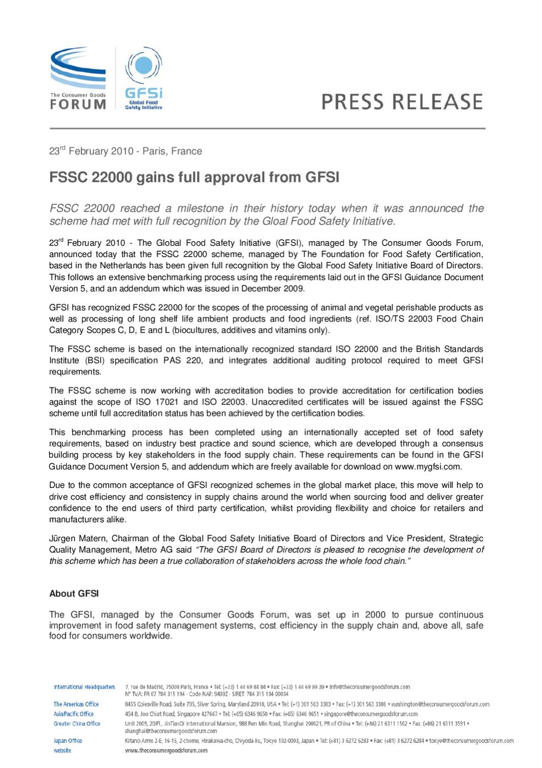 FSSC 22000: Full Recognition from GFSI by Cynthia Weber - issuu